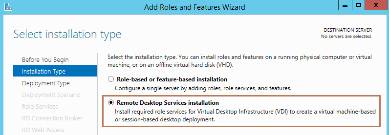 Install Remote Desktop Services in Windows Server 2012