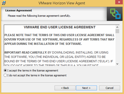 Create VM Template to Deploy Linked Clone vDesktops – End User License Agreement Template
