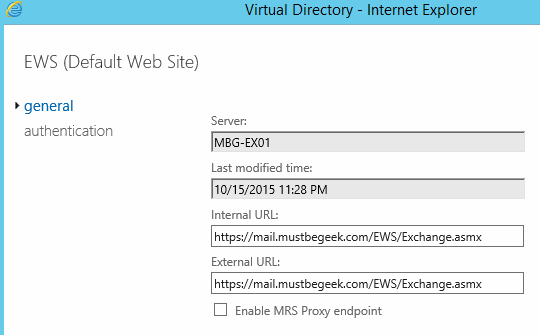 Configure External and Internal URL in Exchange 2016MustBeGeek