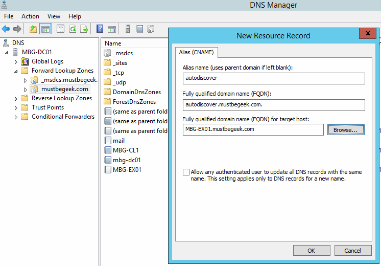 autodiscover internal DNS setting