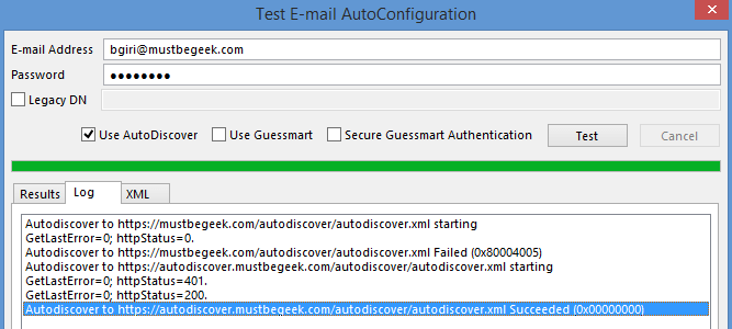 autodiscover test from outlook