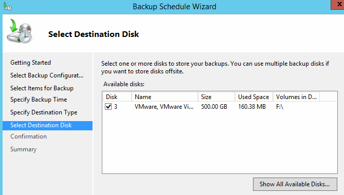 choose destination disk