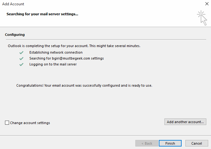 correct settings outlook successful