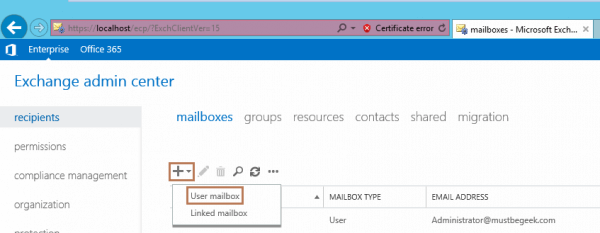 how to create mailbox exchange