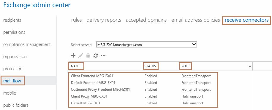 Understanding Default Receive Connectors in Exchange 2016