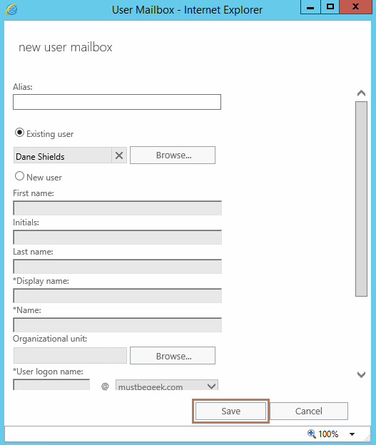 Create User Mailbox in Exchange 2016