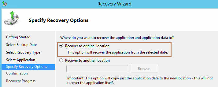 recovery option