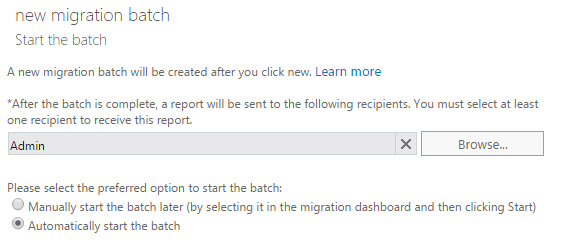 start migration batch