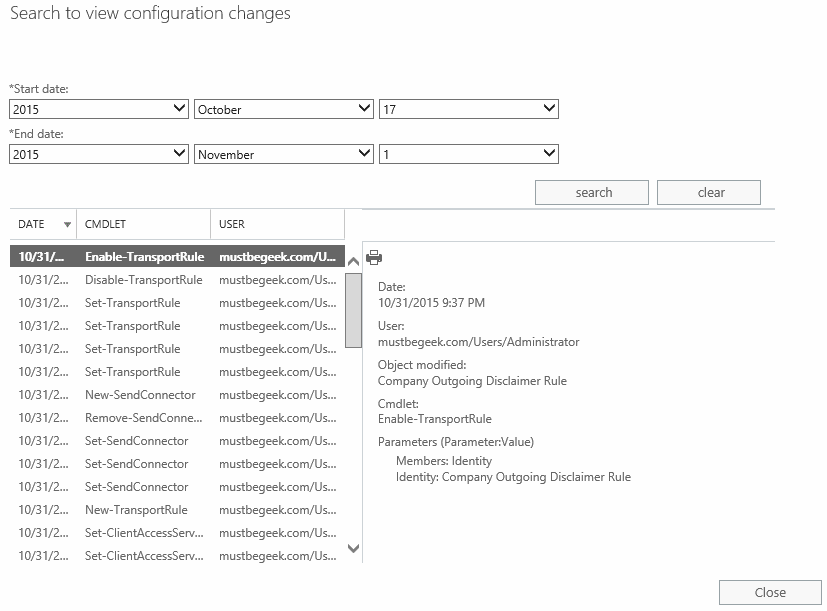 View Admin Audit Logs in Exchange 2016