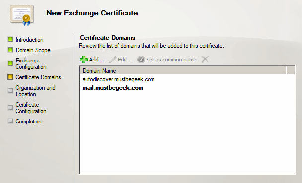 certificate domain names