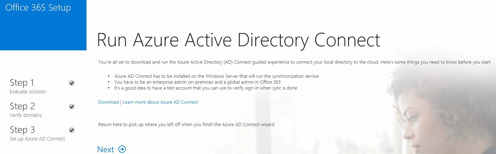 run azure active directory connect