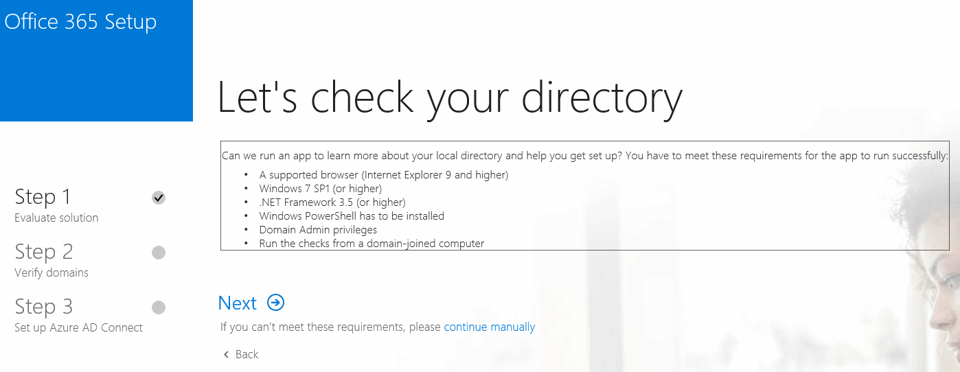 Setup Azure AD Connect With On-Premise Active Directory