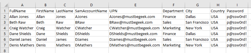 Create Bulk User Accounts from Excel CSV file in Server 2008 R2