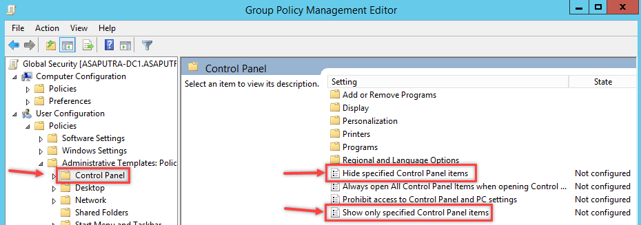 Hide Control Panel Items using Group Policy - 2