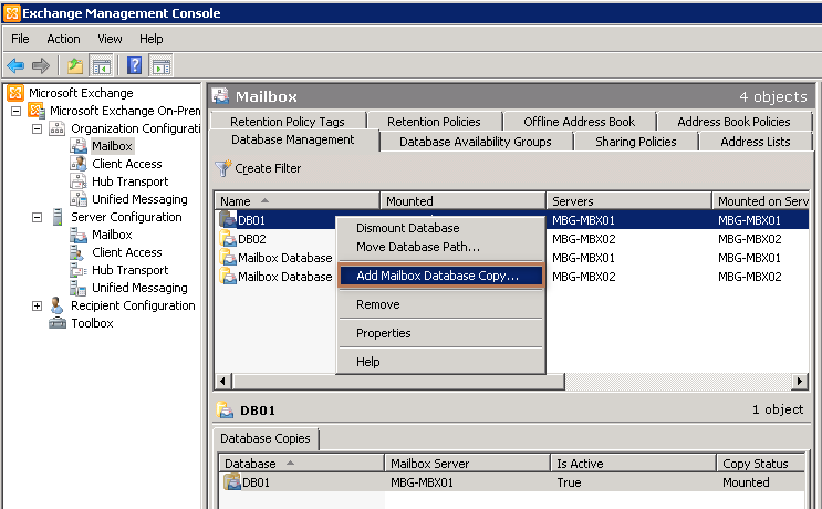 Configure Database Replication in Exchange 2010