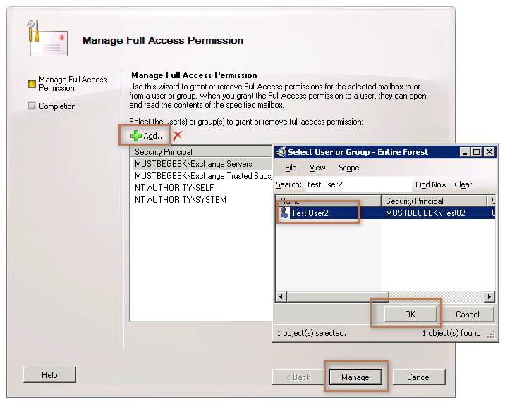 Manage Full Access Permission Wizard