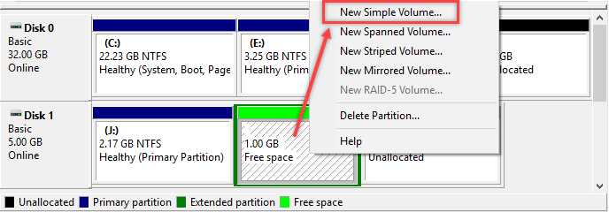 Creating Extended Partition in Windows - 7