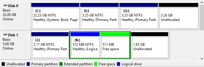 Creating Extended Partition in Windows - 8