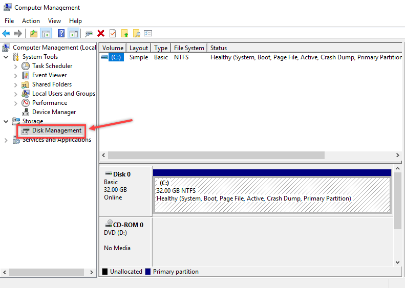 Creating Partition using Disk Management in Windows - 2