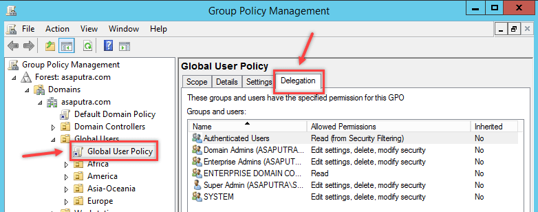 Block GPO using Delegation Option in Windows - 2