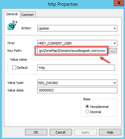 Configure Internet Site Zone using Group Policy Preferences - 3