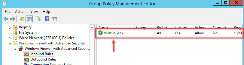 Configure Windows Firewall Rule using Group Policy - 13
