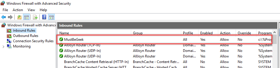 Configure Windows Firewall Rule using Group Policy - 16