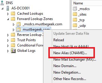 Add CNAME Record in Windows DNS Server - 2