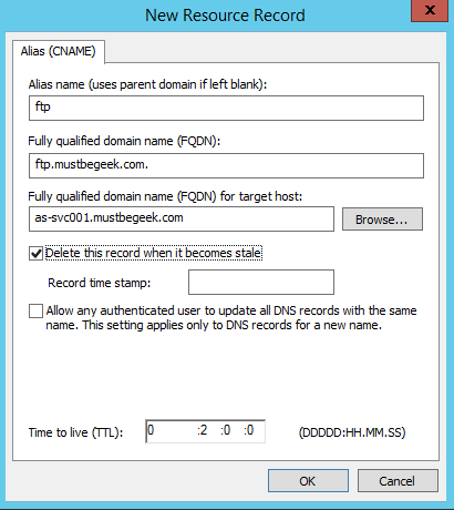 Add CNAME Record in Windows DNS Server - 4