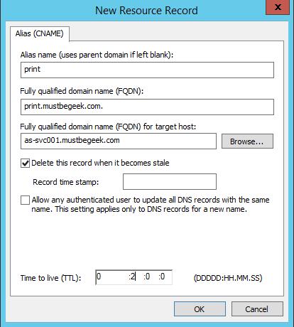 Add CNAME Record in Windows DNS Server - 5