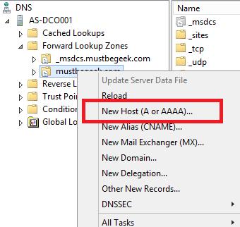Add Host A Record in Windows DNS Server
