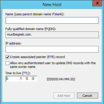 Add Host A-Record in Windows DNS Server - 3