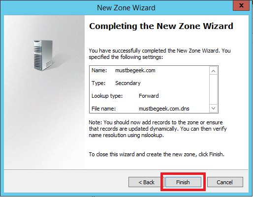 Configure Secondary Zone in Windows DNS Server - 8