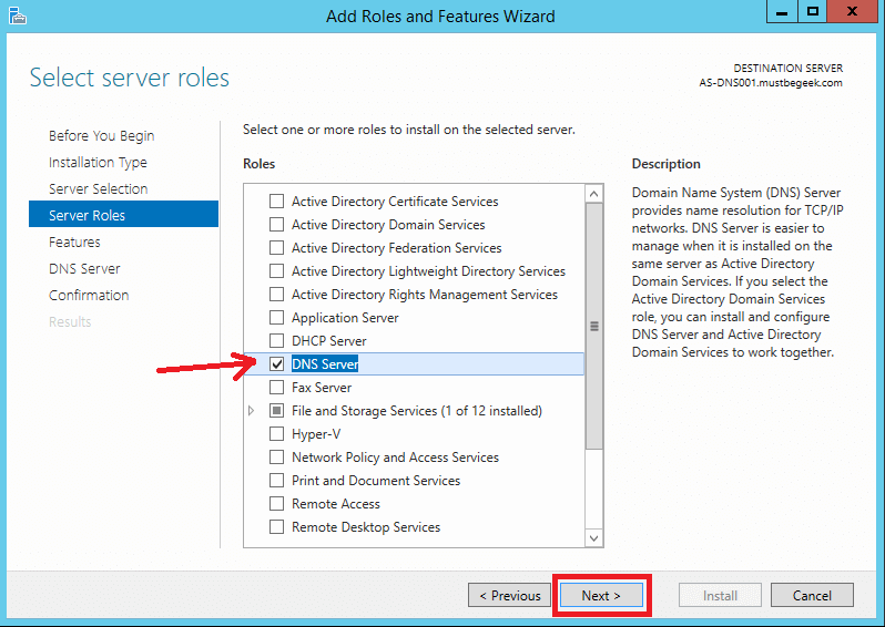 Install DNS Server Role in Windows Server 2012 R2