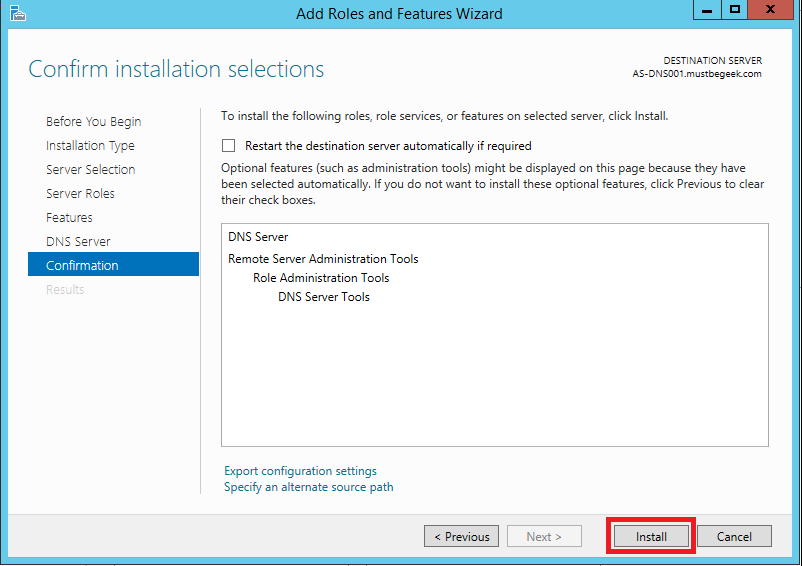 Install DNS Server Role in Windows Server 2012 R2 - 8
