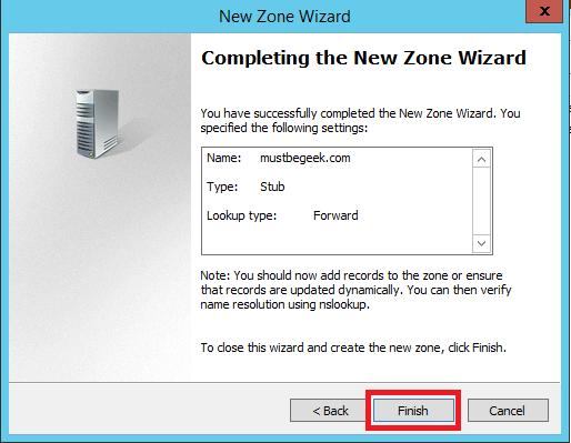 Configure Stub Zone in Windows DNS Server - 9