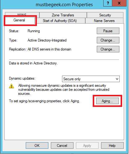 Configure Aging and Scavenging in Windows DNS Server - 2