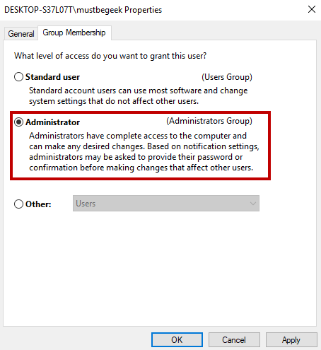Create Local Administrator Account in Windows 10