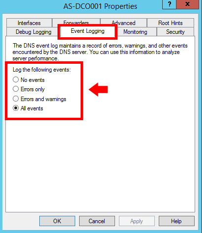Enable Event Logging in Windows DNS Server - 2