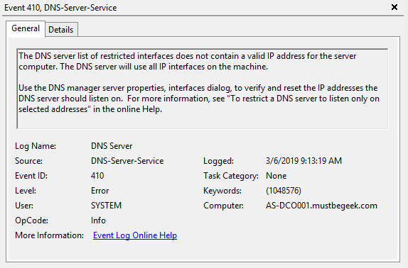 Enable Event Logging in Windows DNS Server - 5