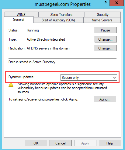 dhcp not updating dns