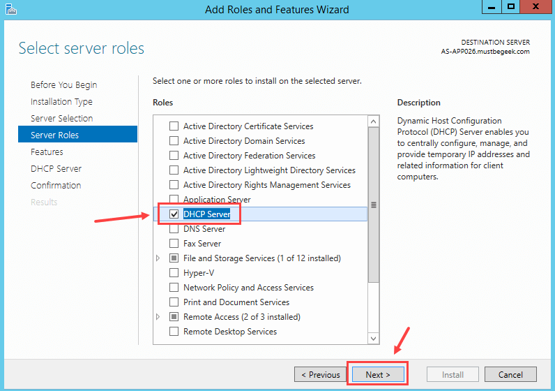 Installing DHCP Role in Windows Server 2012 R2 - 5
