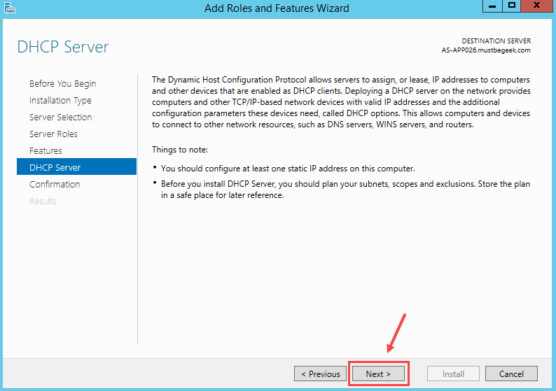 Installing DHCP Role in Windows Server 2012 R2 - 8