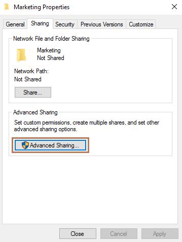 Share a Folder in Windows Server 2016