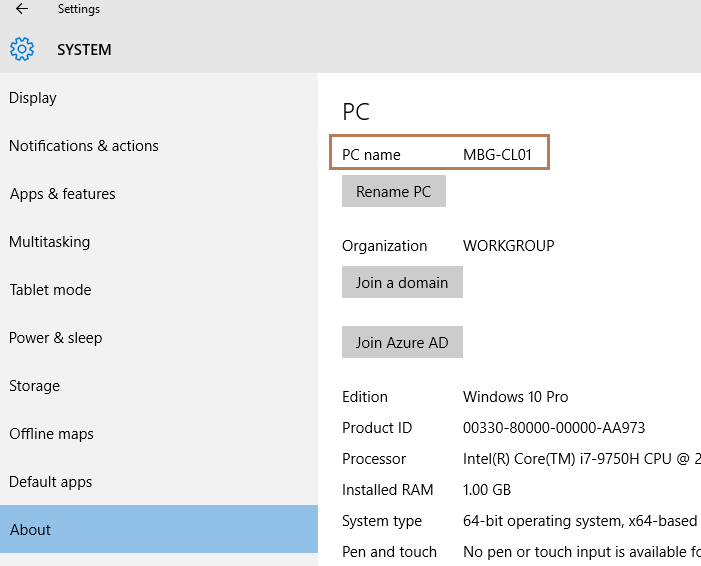 Change Computer Name in Windows 10